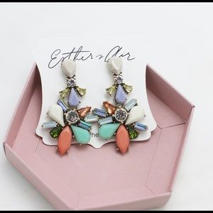 Multi color rhinestone Statement Earrings